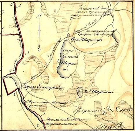 Карта: Восточные окрестности Екатеринбурга, деревня Шарташ, XVIII в.